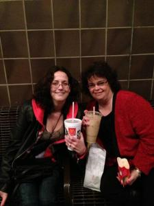 On the bench with Shannon Stacey in 30 degree temps, enjoying our iced drinks
